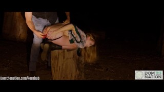 Ashley Lane receives a piss enema and dances through the forest after being anally probed