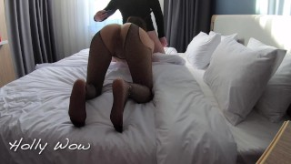 Cheating wife fucking in hotel while cuckold husband watches, she lets him cum as soon as the young