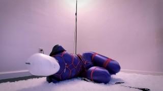 Selfbondage in purple bodysuit (part 2)