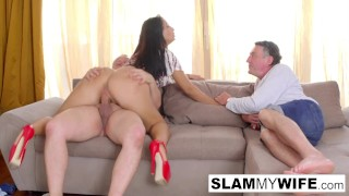 Exotic slut takes a big dick with her husband in the room