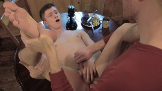 Gaycest Big dick DILF raw fucks cute innocent twink on kitchen table