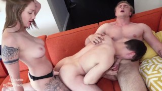 1st Timers Aaron Gets Sucked By Grayson While Riley Wrecks His Hole With A Strap On