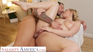 Naughty America - Blake Blossom shows off her big tits and wet pussy to her hunky masseur