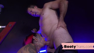 Big booty trans stripper blows before bareback