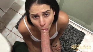 Amateur hard rough fuck and hardcore sloppy deepthroat with a hottie brunette wearing panties