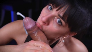 I Tease Him With My Sloppy Mouth,Intense Handjob and Deepthroat