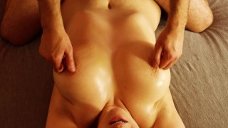 Oil masagge milf with big tits and thick thighs, finger orgasm