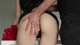 Sex with a delivery guy. Beautiful wife is more happy with a new cock than flowers from her husband