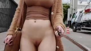 Naked girl on street public