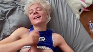 Surprise facial for cute blonde Pixie giving Eddie Danger a handjob