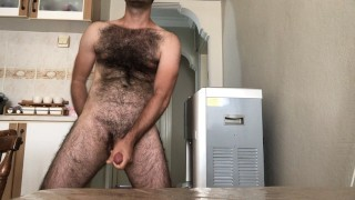 Very hairy solo man cum on kitchen table while smoking and tea