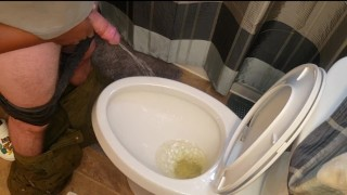 I love holding his cock while he pees! Made a bit of a mess...