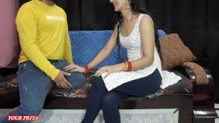Priya teach her stepbrother how to satisfied his wife on first night in clear hindi audio