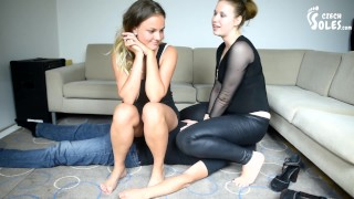 Two goddesses trampling, foot and face sitting slave (foot domination, femdom, facesitting, feet)