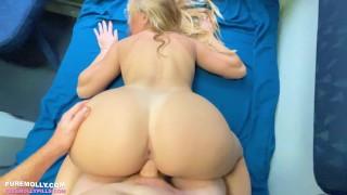 Busty Blonde Slut Fucked on a Public Train - Molly Pills - POV 4K
