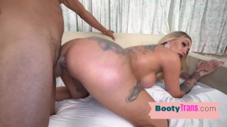 Roundbutt blonde tgirl stuffed from behind by hung male