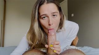 Stunning Eye Contact Blowjob With Beauty, She Got Huge Cumshot. 4K