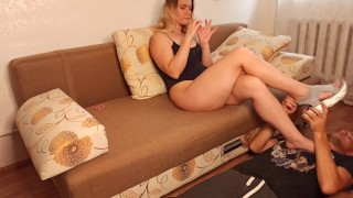Licking the sexiest and most delicious female legs