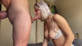 Cum load in my mouth after a sloppy blowjob