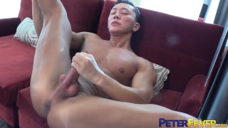 PETERFEVER Muscular Asian Shen Powers Jerks Off Dick Solo