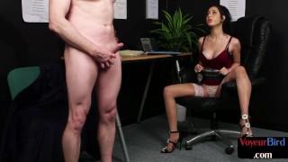 British cfnm femdom instructing her pathetic subject