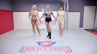 Lesbian Wrestling With London River Against Jenna Noelle And The Loser Strapon Fucked