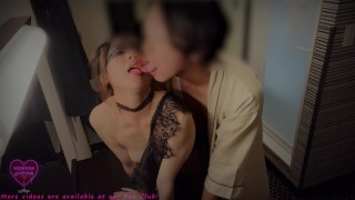 Slutty Japanese MILF with a black bodystocking loves fucked and spitted much into her mouth 4K 60fps