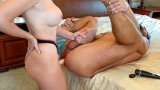 Wife fucks husband with a strapon in the ass - Real amateur pegging POV