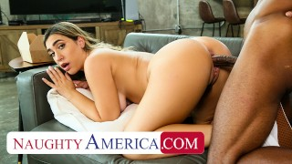 Naughty America - Hot blonde with pierced nipples, Lexi Grey, fucks her friend's big cock brother on