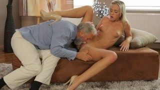 OLD4K. After passing all exams blonde has sex with her old pedagogue
