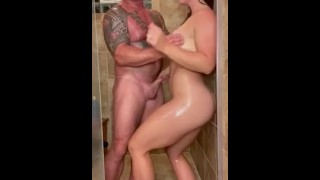 Muscular couple get rubbed down in oils! Say hi to the mistress cuck duo FitNaughtyCouple on OnlyFan