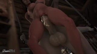 Lady Dimitrescu fucks her housemaid - Futanari pounds female - The Mask of Joy
