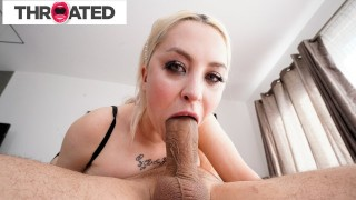 Big Tittied Blonde Russian Gets A Huge Cock To The Throat - Throated