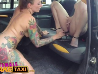 Female Fake Taxi Slick wet pussies licked & fucked with sex toys in taxi