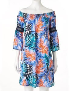 Jennifer lopez off shoulder tropical dress xs   also dresses poshmark rh