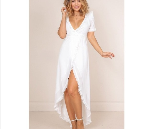 Showpo White Ruffle Wrap Maxi Dress