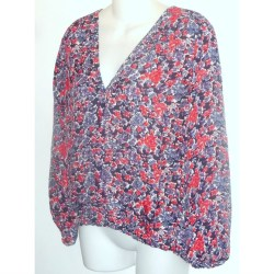 16b06a3c4b405c Joie Tops Red Blue Floral Silk Blouse Gathered Top Poshmark