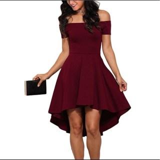Sidefeel Dresses & Skirts - Women's Off-Shoulder Sleeve High Low Skater Dress