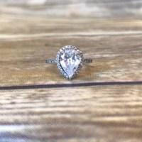 Pandora Jewelry   Radiant Teardrop Pear Shaped Ring Halo ...