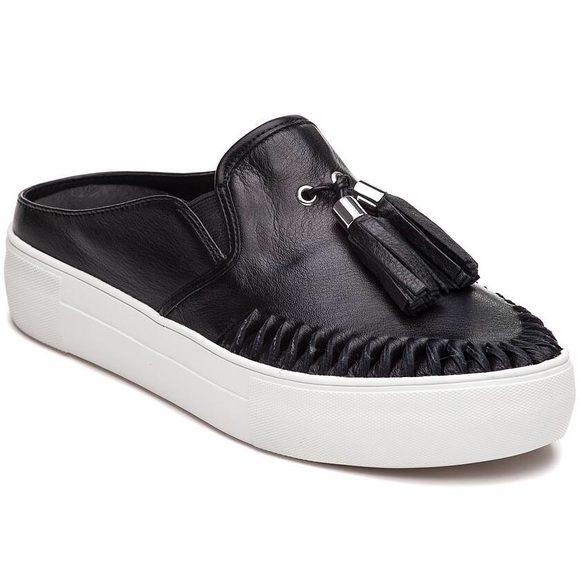 Black Leather Slide On Sneakers