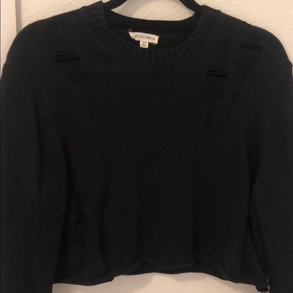 black cropped sweater by