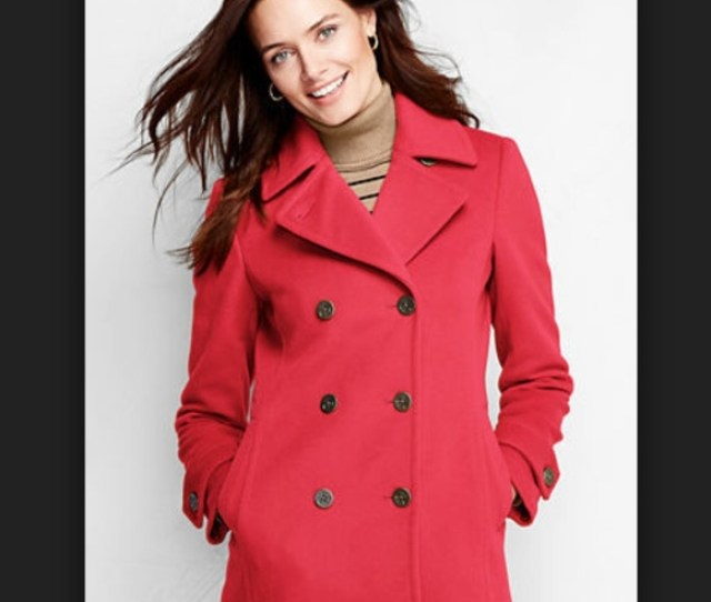 Sale Lands End Red Wool Peacoat Winter Coat