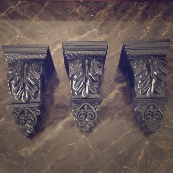victorian gothic black curtain rod sconces