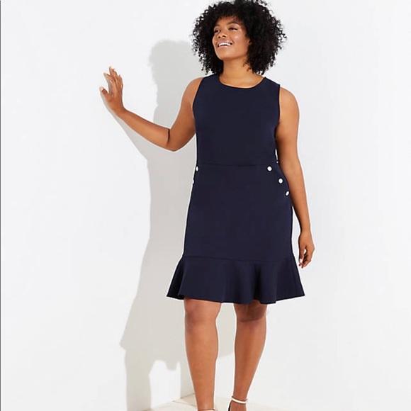 loft nwt navy button pocket flounce dress