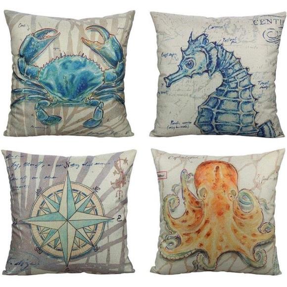 4 nautical coastal pillow