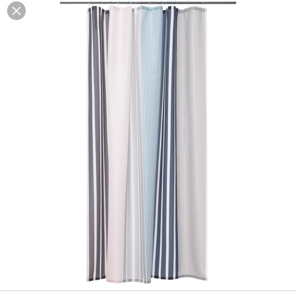 ikea pink blue white gray striped shower curtain