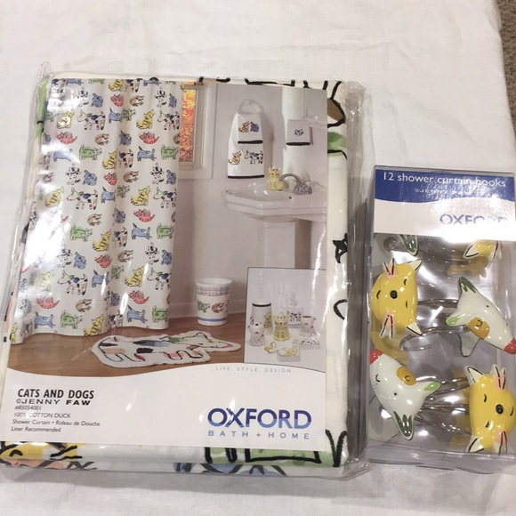 nwt cats dogs shower curtain with curtain hooks