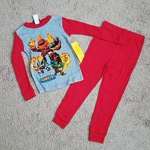kids skylander pajamas on