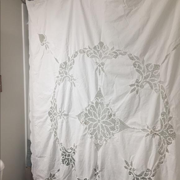 beautiful white battenberg lace shower curtain