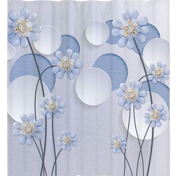 elegant flower shower curtain set blue floral